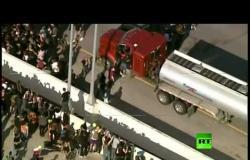 فيديو آخر لناقلة بنزين حاولت شق حشد المحتجين على طريق سريع في مينيابوليس