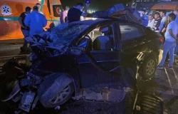 بالصور.. مصرع 6 أفراد من أسرة واحدة ونجاة طفلة في حادث تصادم بالسويس
