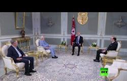 رئيس تونس قيس سعيد يستقبل رئيس الحكومة إلياس الفخفاخ ورئيس مجلس نواب الشعب راشد الغنوشي في قصر قرطاج