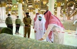 """""""السديس"""" يتفقّد سير الأعمال بالمسجد النبوي ويلتقي منسوبيه ميدانيًّا"""