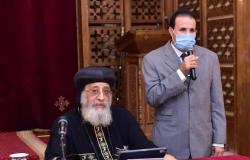 """لحصوله على الدكتوراة.. البابا تواضروس يكرم مرتل كنيسة """"خماروية"""""""