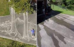 هل شاهدت الرسم بالمياه؟.. فيديو مدهش لفنان يرسم لوحته العملاقة