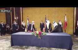 لحظة توقيع الوثائق التاريخية بين إسرائيل والبحرين في المنامة