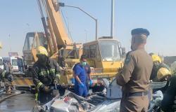انقلاب واحتجاز.. مصرع 2 وإصابة 5 أشخاص في حادث مروري بجدة