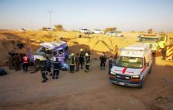مصرع وإصابة 8 أشخاص في انقلاب مروع شمالي الطائف