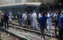 وقوع إحدى عربات قطار القاهرة المميز من على القضبان بمحطة مصر بالإسكندرية