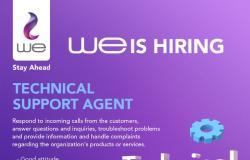 التقديم مفتوح .. وظائف خالية بالشركة المصرية للاتصالات «WE» في القاهرة والمحافظات