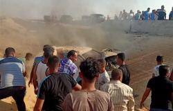 تفحم أسرة في انقلاب سيارة بالإسماعيلية (صور)