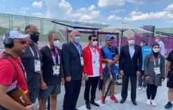 وزير الرياضة يلتقي رئيس الدولي للرماية خلال زيارته لميدان الرماية بطوكيو