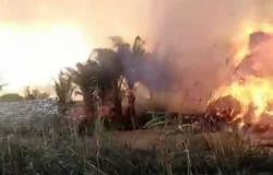 السيطرة على حريق هائل في موقع تجميع قش الأرز في الدقهلية «صور»