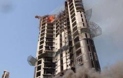 حريق هائل فى مبنيين أحدهما 18 طابقا بالكويت وإصابة 12من رجال الإطفاء